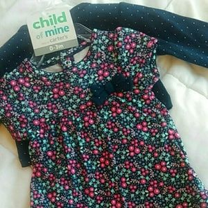 Cardigan dress outfit 2 pc. NWT navy blue floral